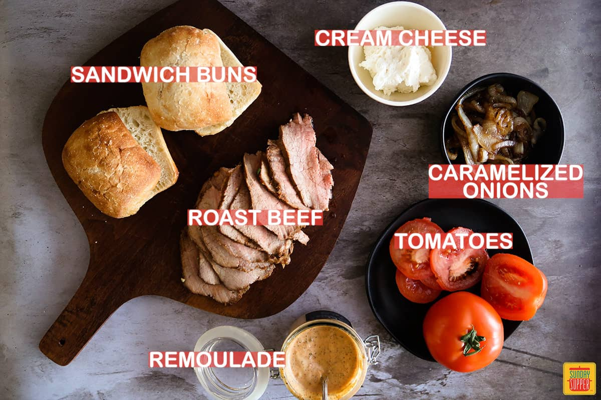 roast beef sandwich ingredients labeled on a table