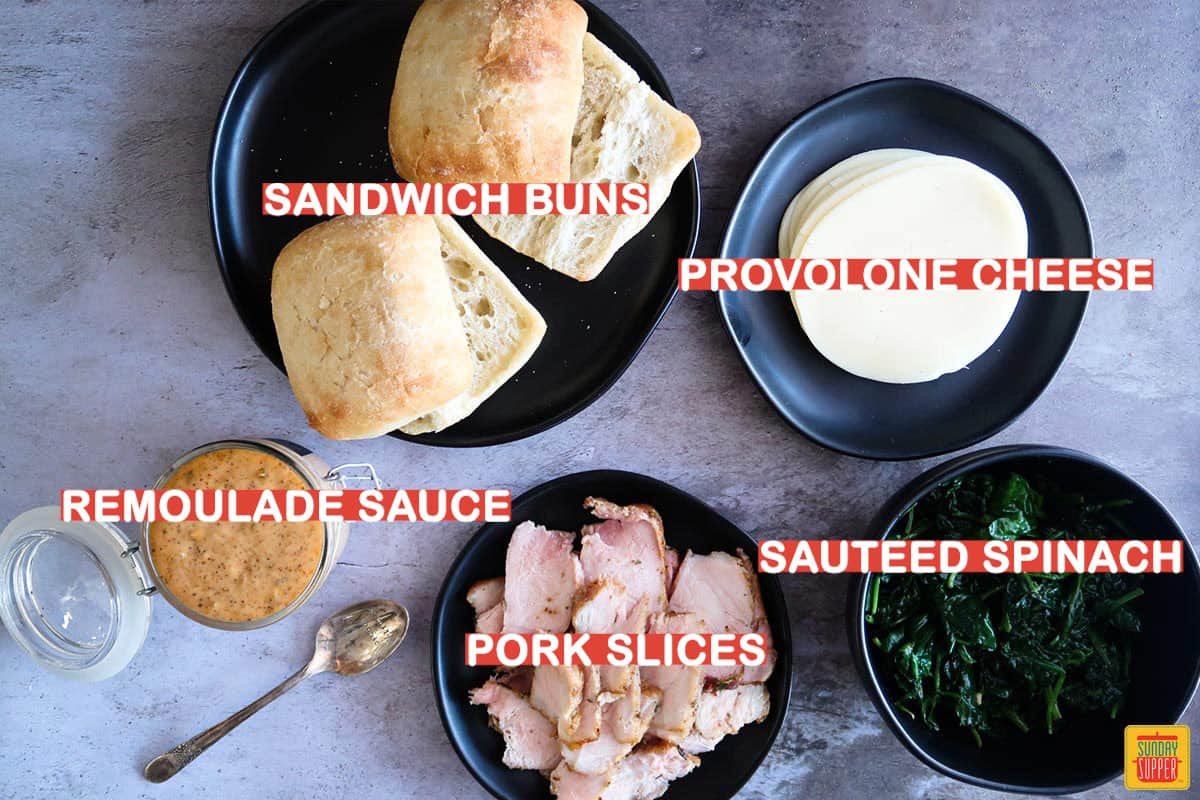 Ingredients to make Philly pork sandwich labeled on table