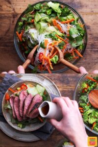 Assembling the vietnamese beef salad