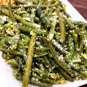 Close up of green beans on a plate