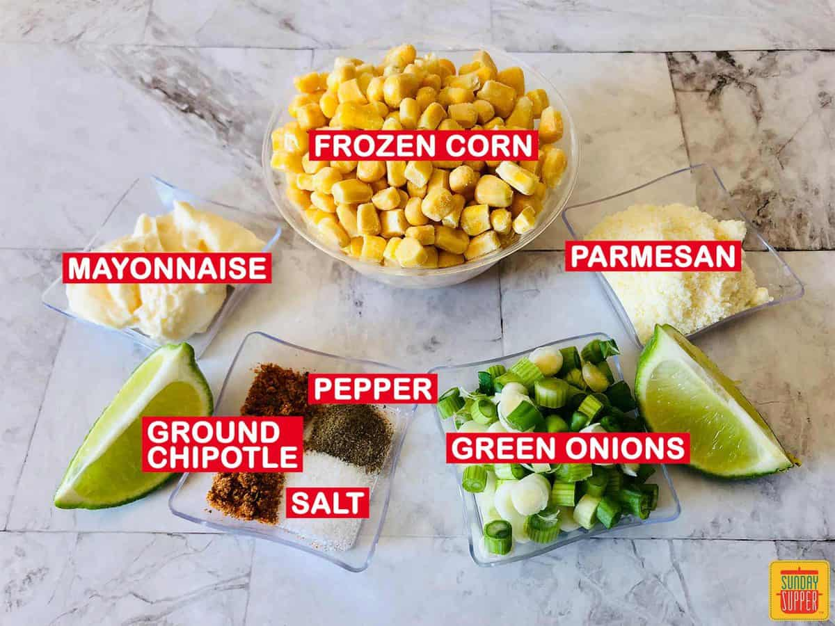 Mexican street corn ingredients with labels