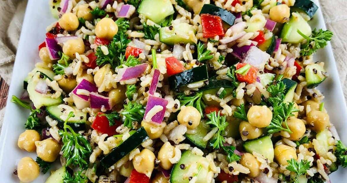 Close up of easy quinoa salad on a white square plate