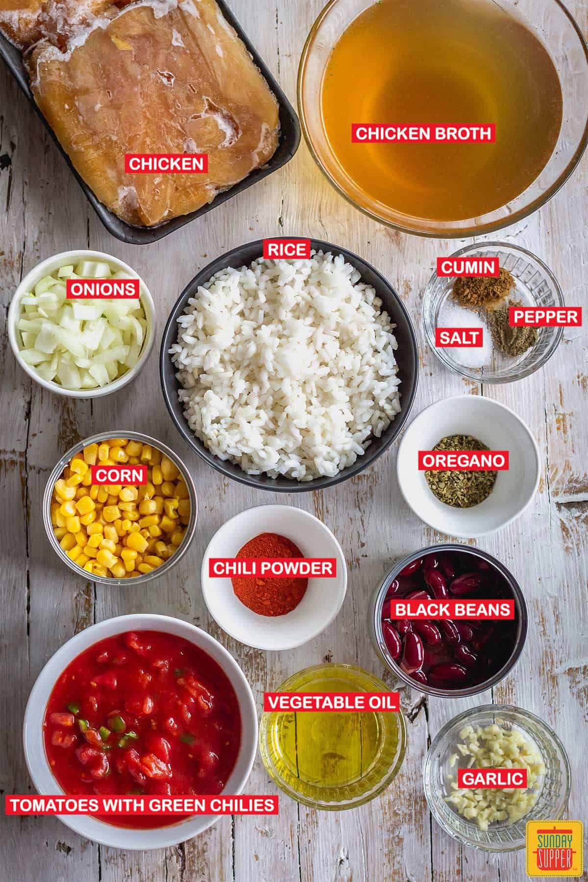 ingredients to make instant pot chicken and rice soup with labels