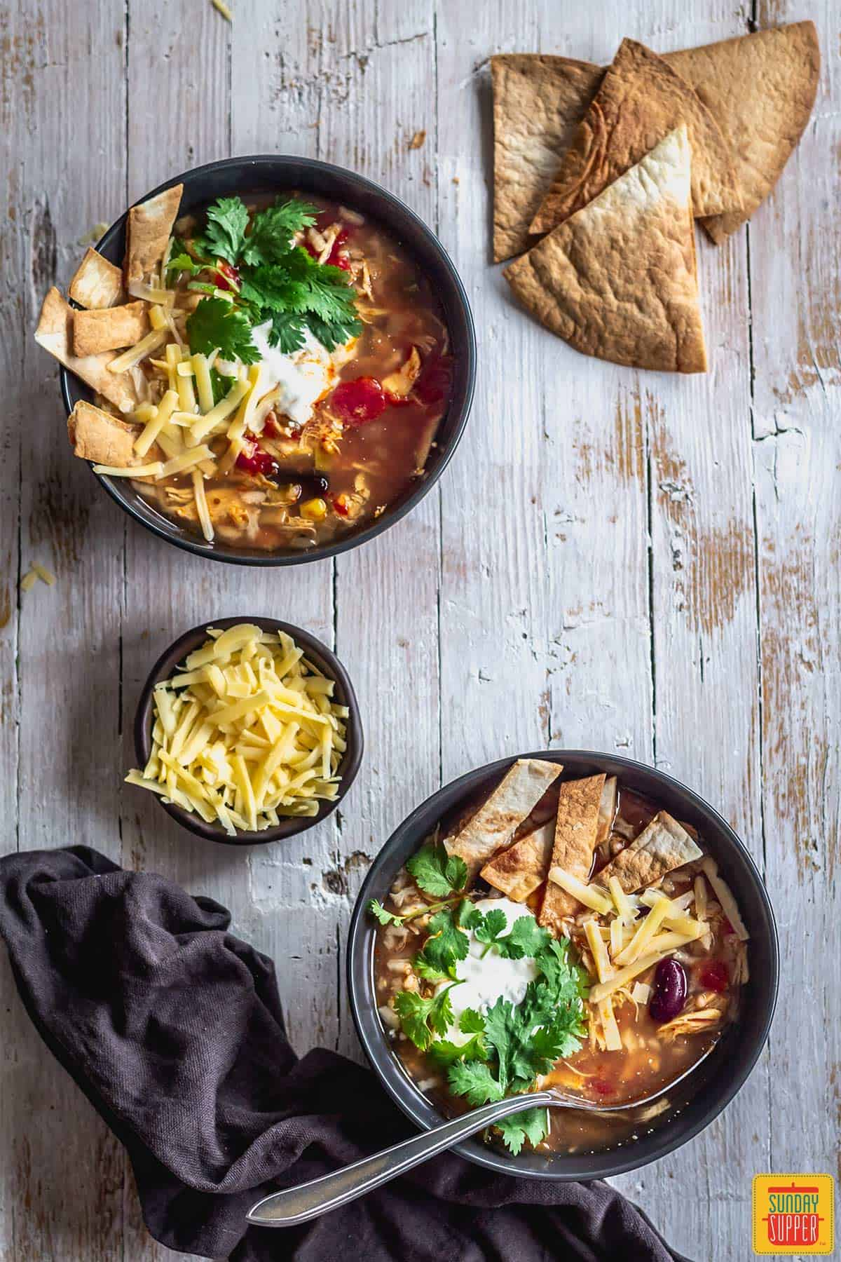 two bowls of mexican instant pot chicken and rice soup