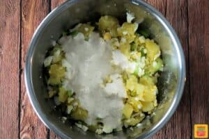 Potato salad dressing on salad in instant pot
