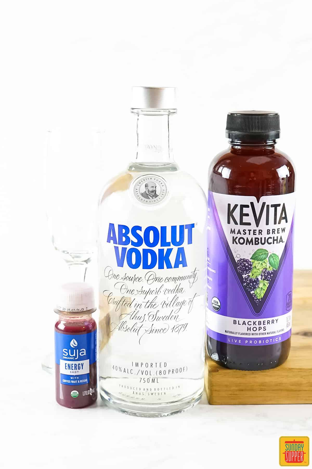 Ingredients to make vodka cocktail recipe