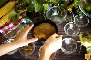 Mixing dry rib rub in a bowl