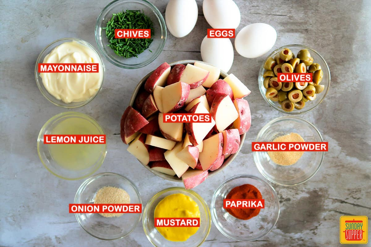 ingredients for spanish potato salad with labels