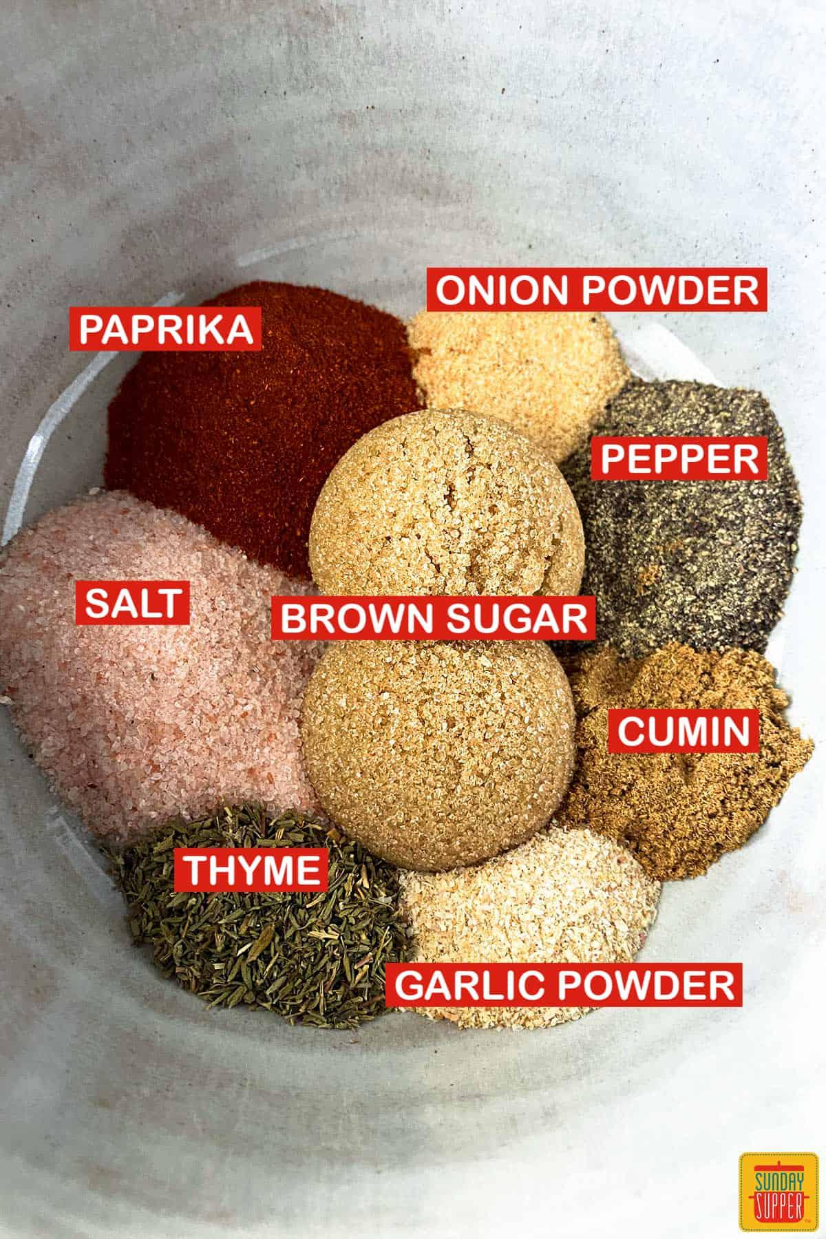ingredients to make potato seasoning with labels