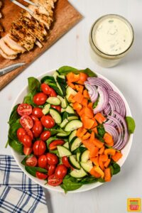 Veggies in a bowl for making grilled chicken salad