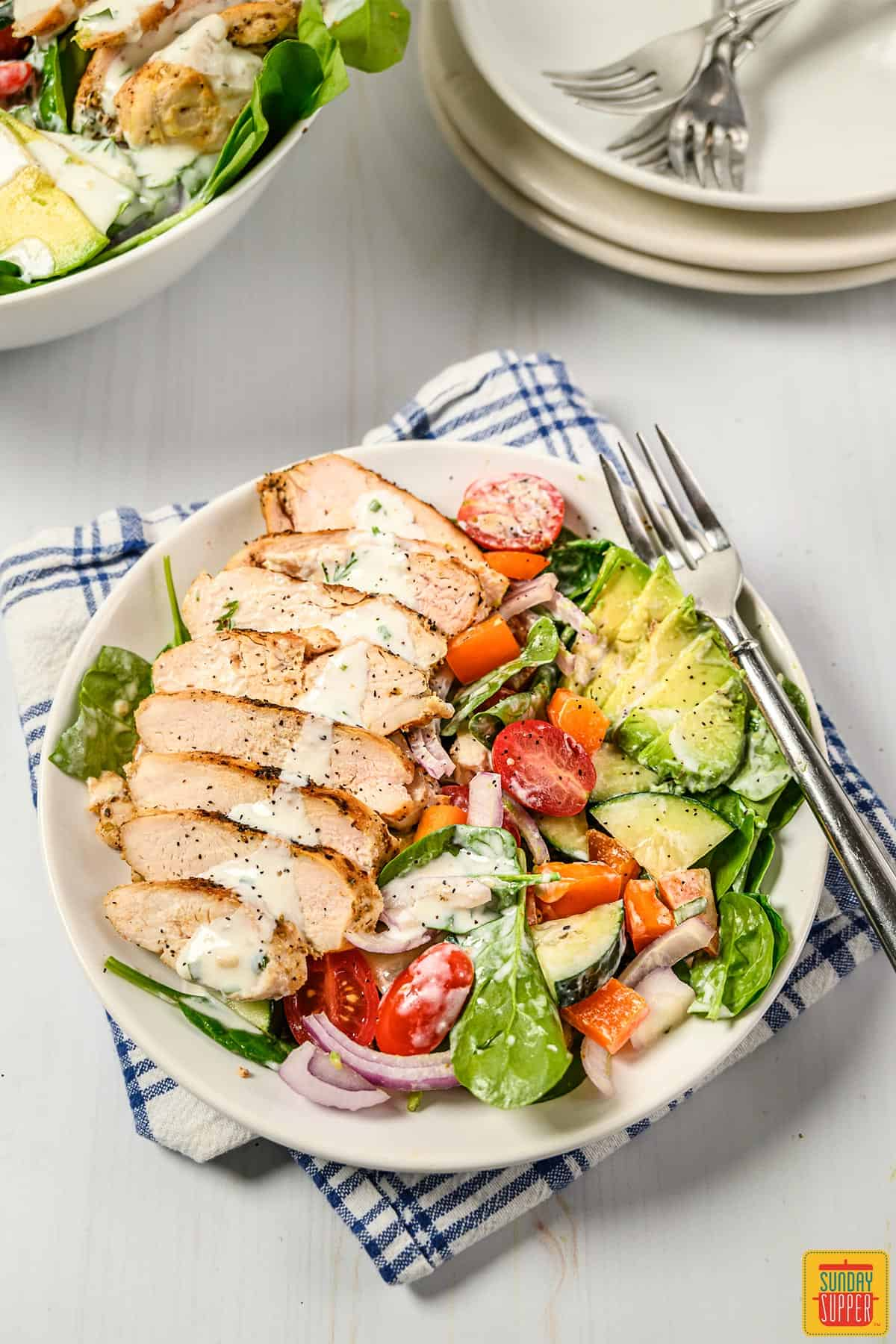 Grilled chicken salad in a bowl with a fork