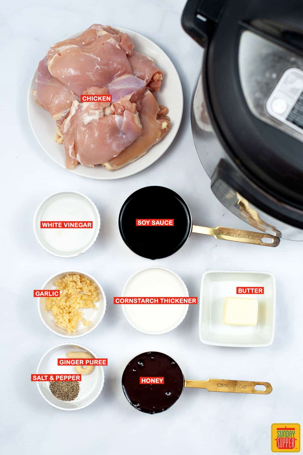 ingredients to make instant pot teriyaki chicken with labels