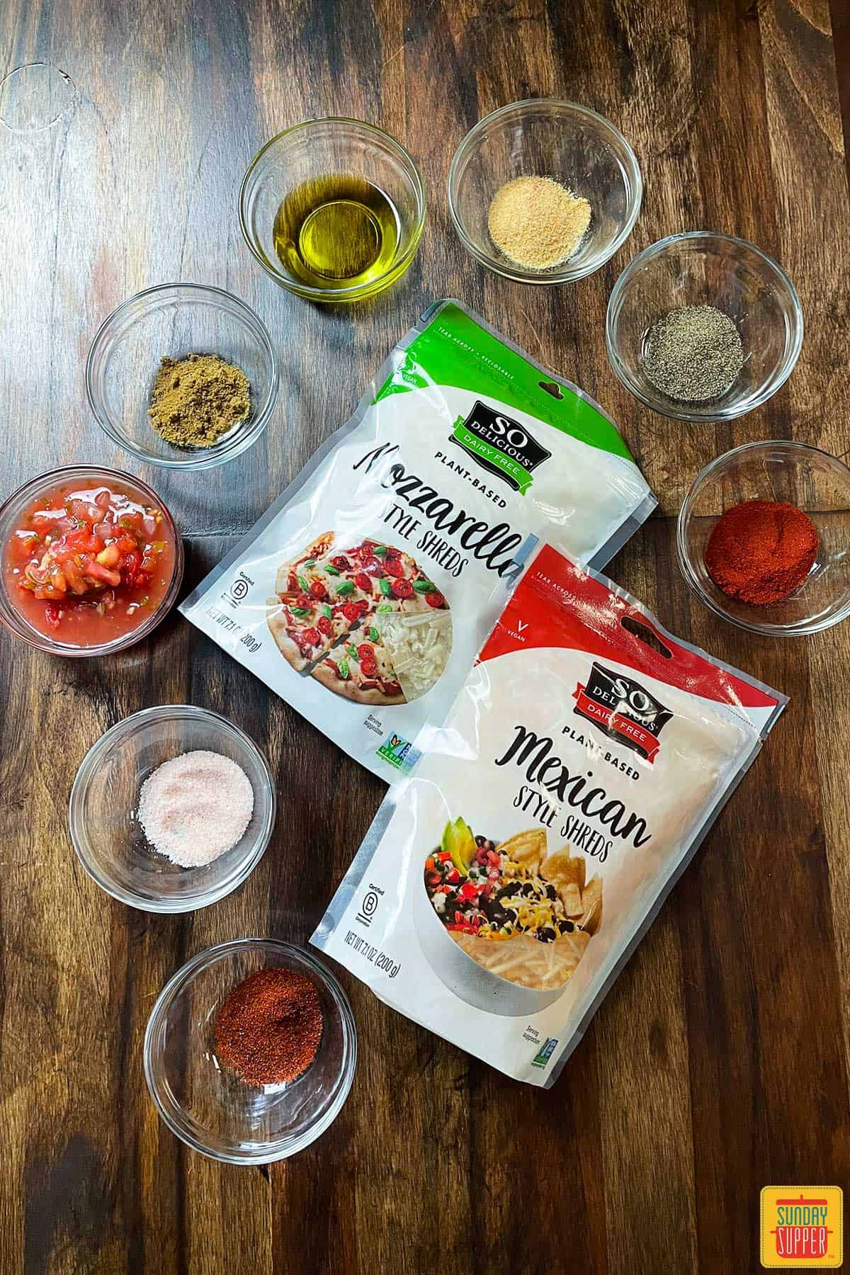 Ingredients to make baked quesadillas on a table