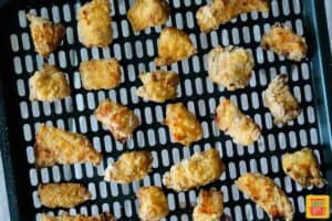 Air fryer chick-fil-a nuggets complete on tray