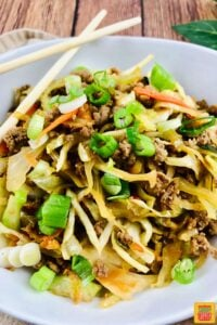 Egg roll in a bowl up close