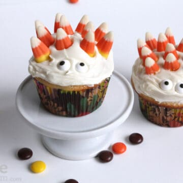 Monster cupcakes with candy corn on top
