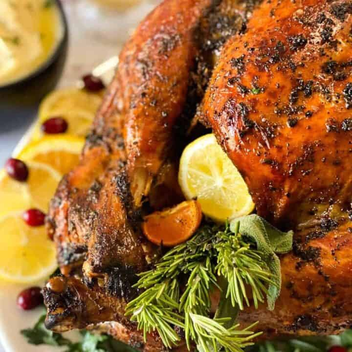 grilled turkey stuffed with citrus and herbs